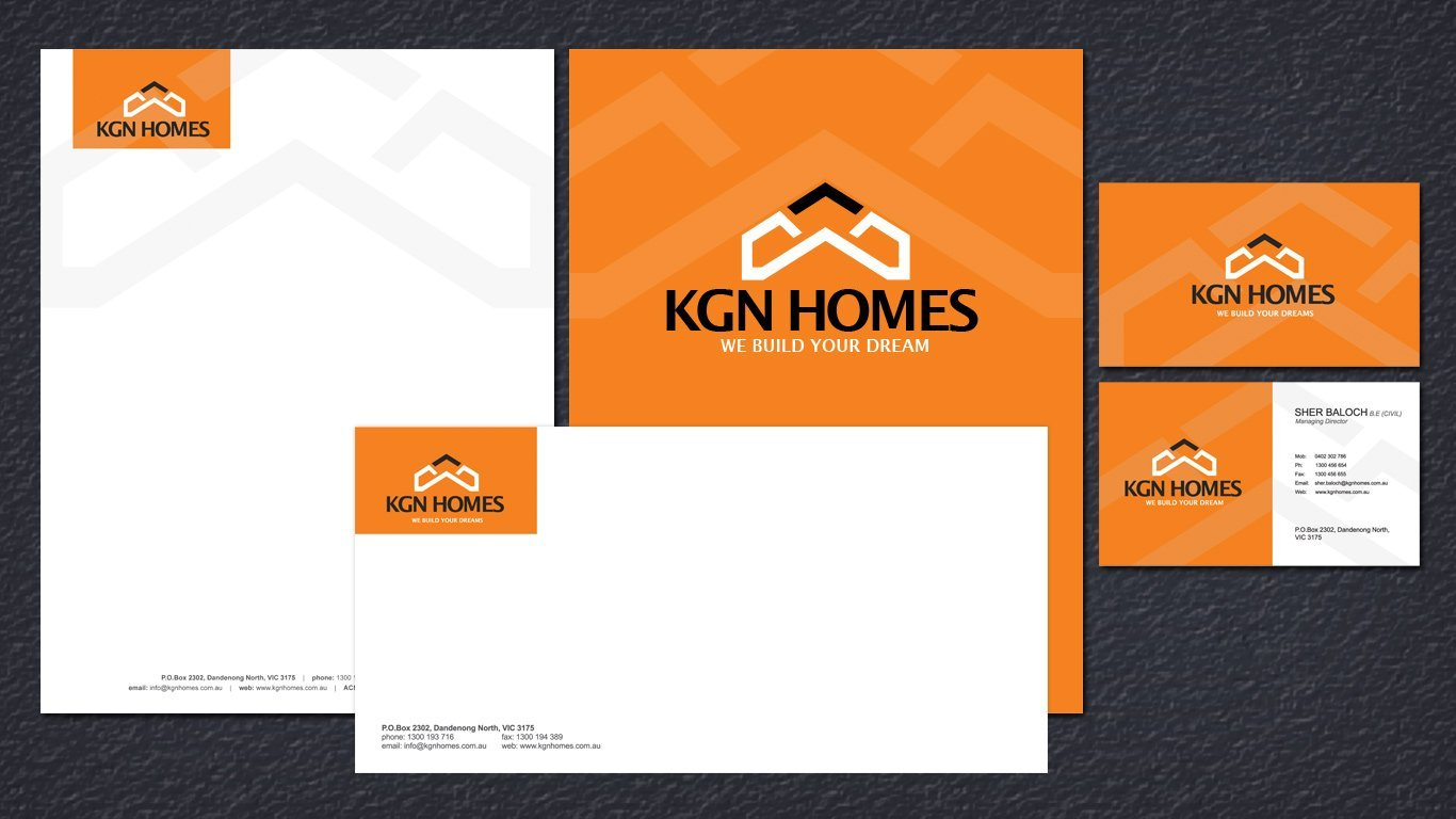 kgn homes stationery design