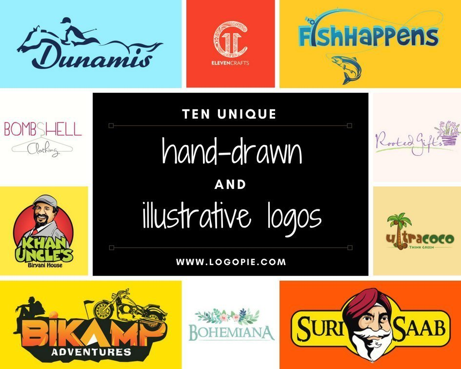 10 Unique hand-drawn and illustrative logos
